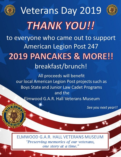 Veterans Day Pancake Feed 2019 thank you
