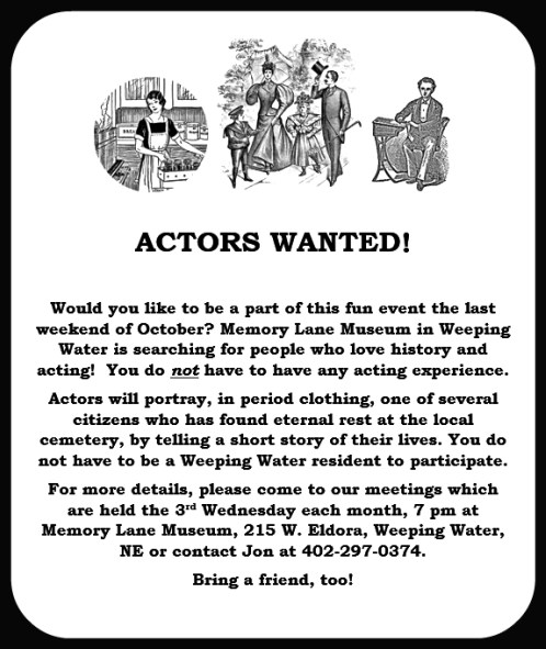 2018 04 25 WW Memory Lane actors wanted1