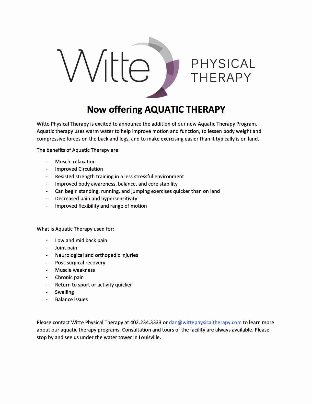 Aquatic Therapy Newsletter