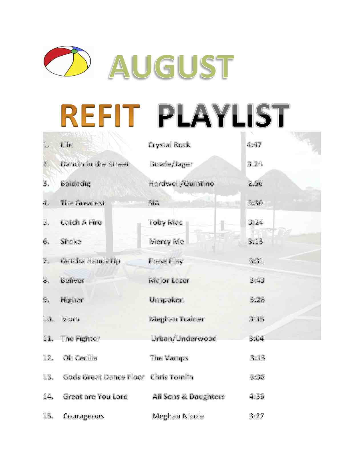 August REFIT play list