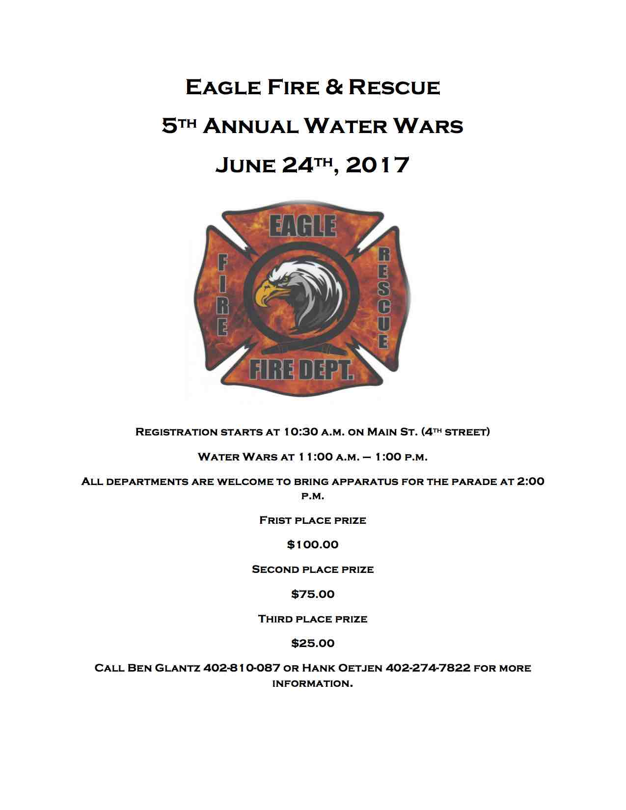 Eagle Fire Rescue Water Wars Flyer 2017