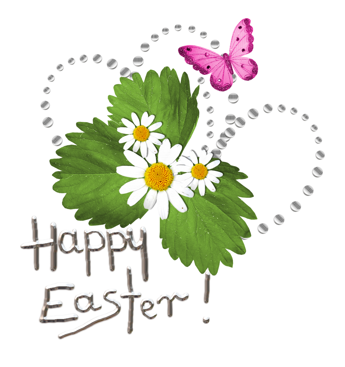 Happy Easter Transparent Text with Deco PNG Picture
