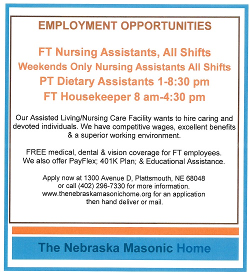 Masonic Home Help wanted