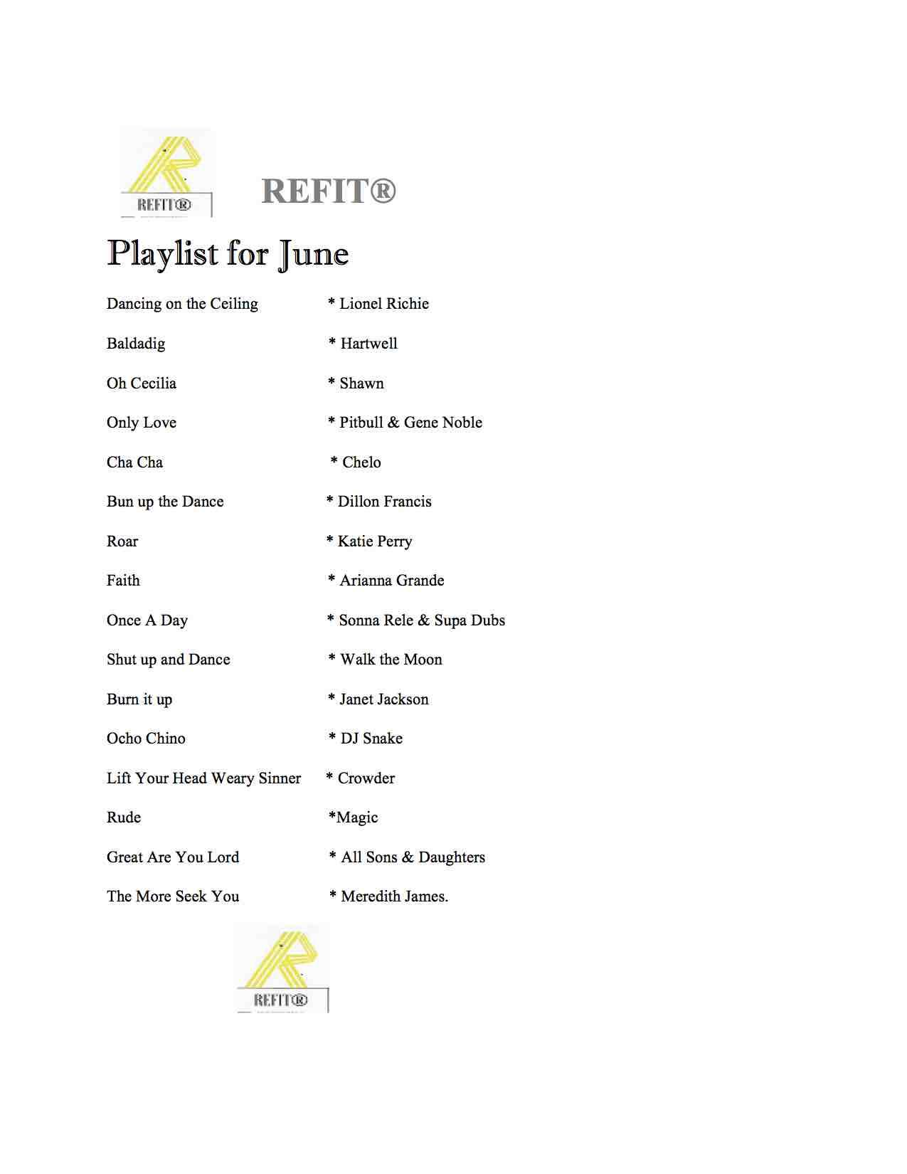 REFIT JUNE PLAY LIST