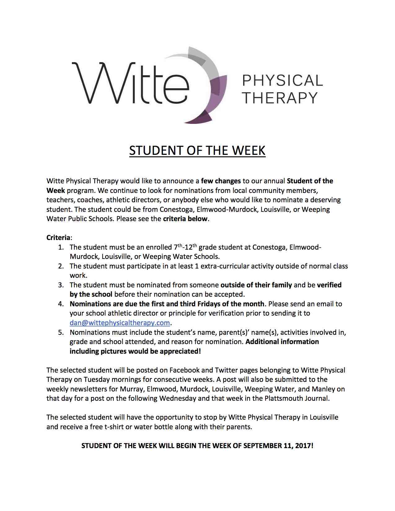 Student of the Week 2017