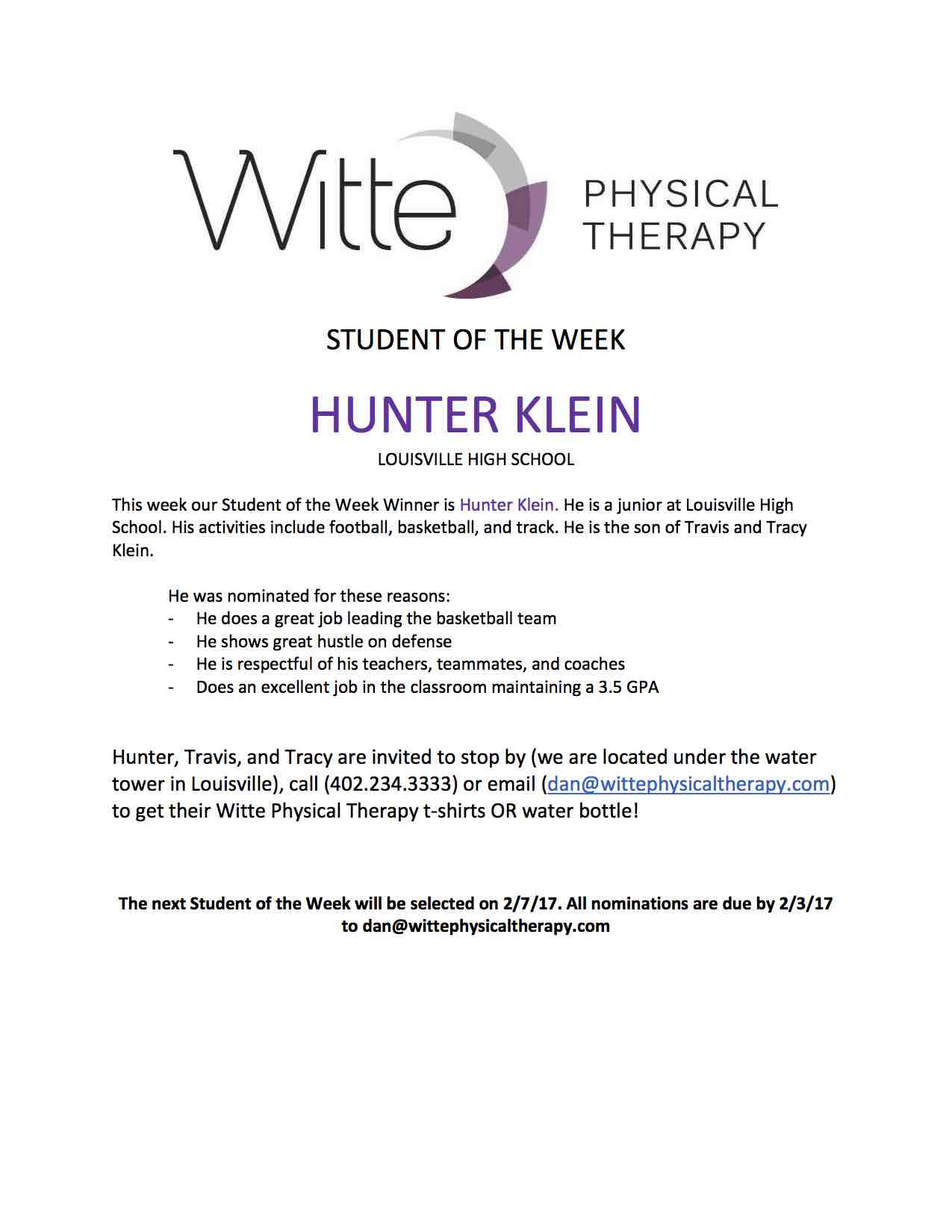 Student of the Week Selection 39