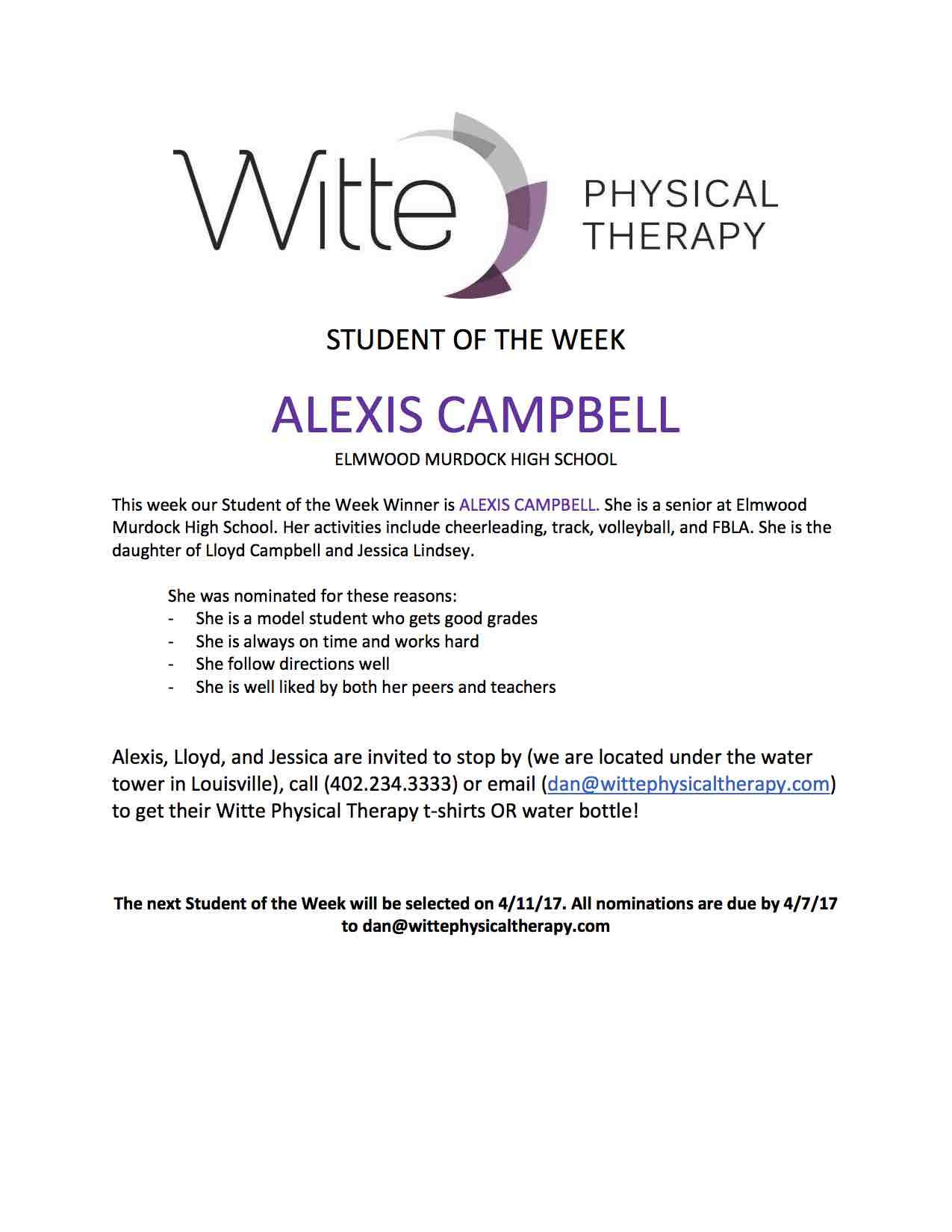 Student of the Week Selection 47