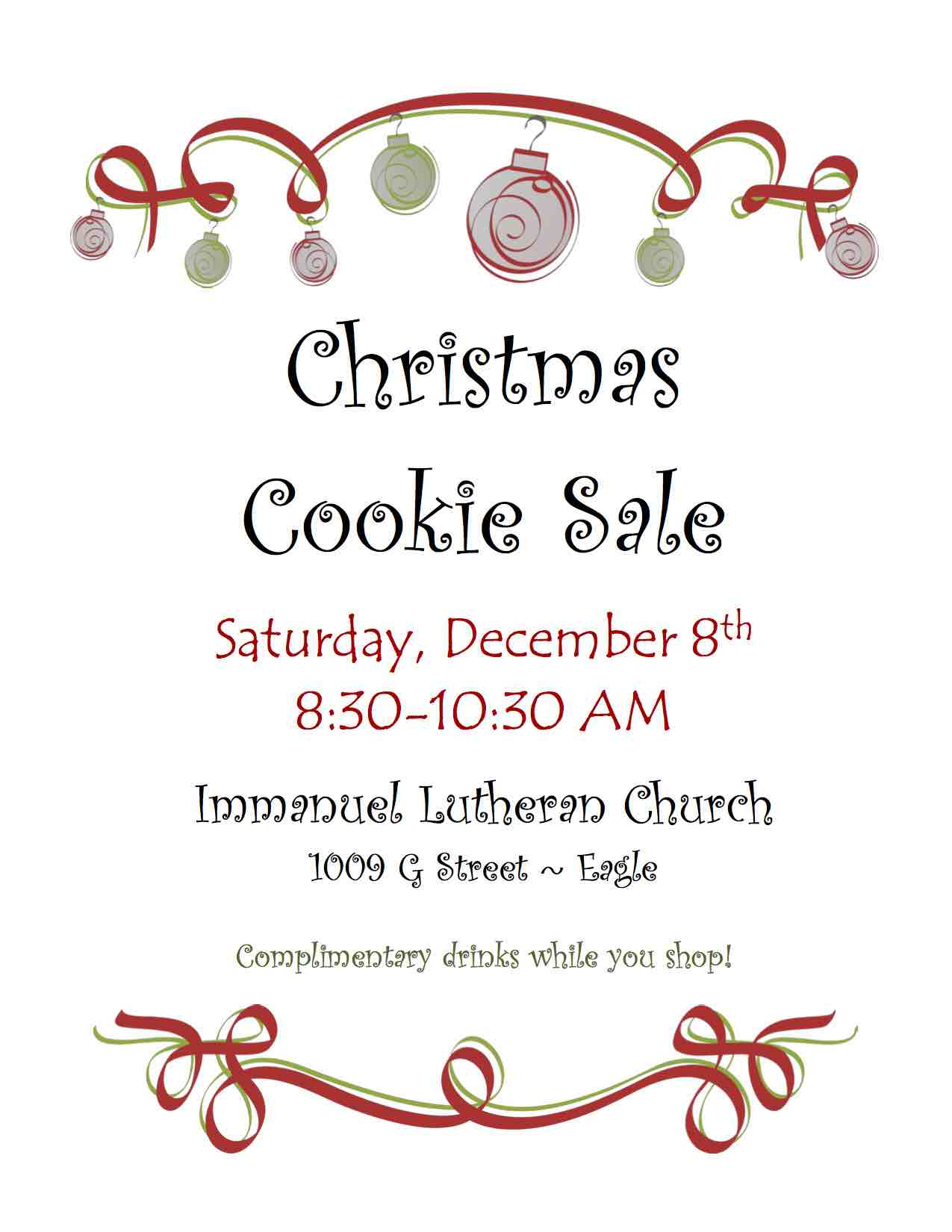 Christmas Cookie Sale Flier 2018